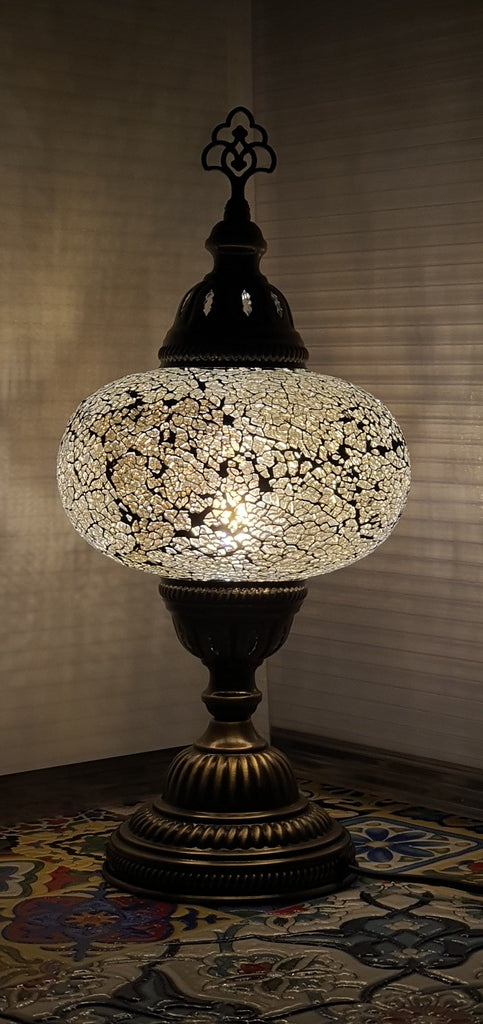 Silver Turkish Tiffany Mosaic Oriental Decorative Table Lamp LED Light From £31.90 - Decoridea.co.uk