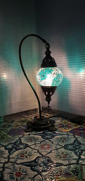 Green Turkish Tiffany Mosaic Swan Neck Table Lamp LED Light size 2 From £29.90 - Decoridea.co.uk