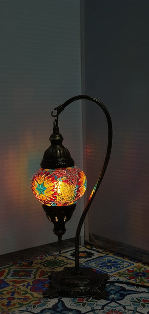 Mix Flower Pattern Turkish Tiffany Mosaic Swan Neck Table Lamp LED Light size 2 From £29.90 - Decoridea.co.uk