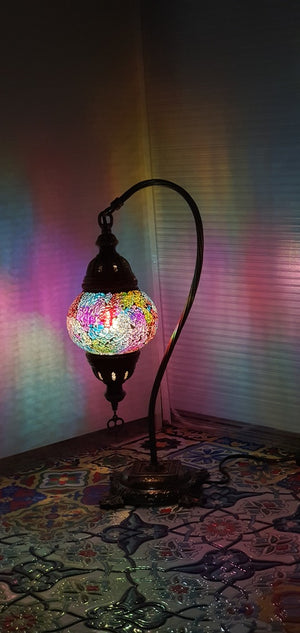 Mix Coloured Turkish Tiffany Mosaic Swan Neck Table Lamp LED Light size 2 From £29.90 - Decoridea.co.uk