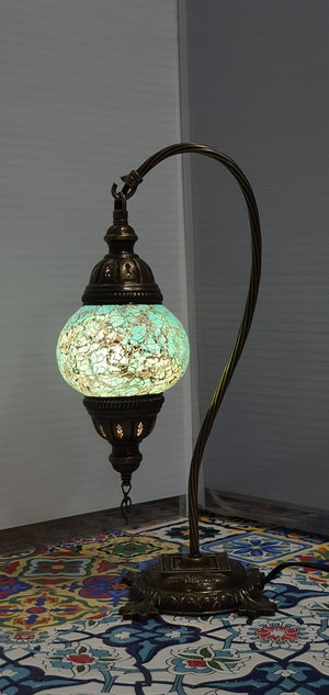 Turquoise Turkish Tiffany Mosaic Swan Neck Table Lamp LED Light size 2 From £29.90 - Decoridea.co.uk