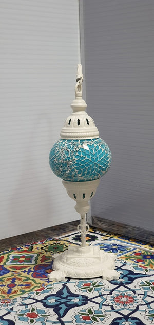 Turquoise Flower Pattern Turkish Tiffany Mosaic Swan Neck Table Lamp LED Light size 2 From £29.90 - Decoridea.co.uk