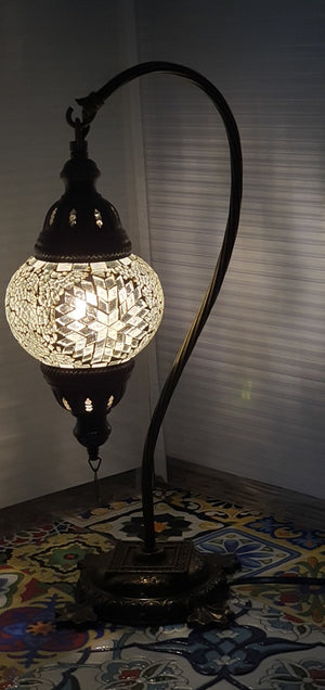 White Flower Pattern Turkish Tiffany Mosaic Swan Neck Table Lamp LED Light size 2 From £29.90 - Decoridea.co.uk