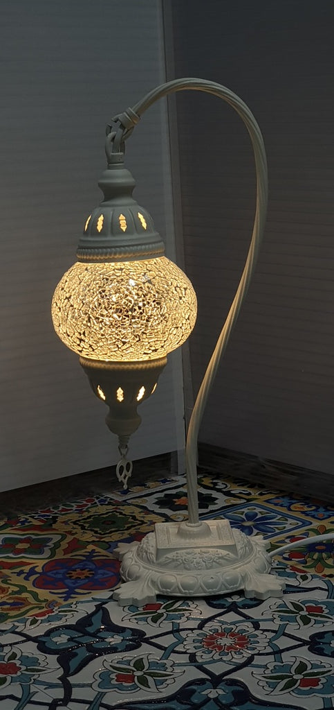 White Turkish Tiffany Mosaic Swan Neck Table Lamp LED Light size 2 From £29.90 - Decoridea.co.uk