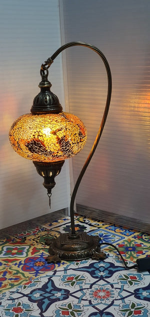 Amber Turkish Tiffany Mosaic Swan Neck Table Lamp LED Light size 4 From £34.90 - Decoridea.co.uk
