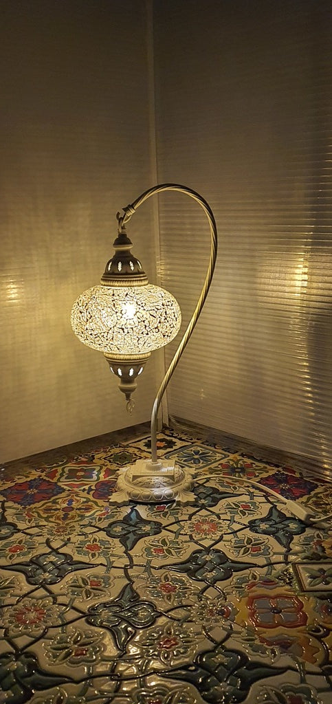 Golden Turkish Tiffany Mosaic Swan Neck Table Lamp LED Light size 4 From £34.90 - Decoridea.co.uk