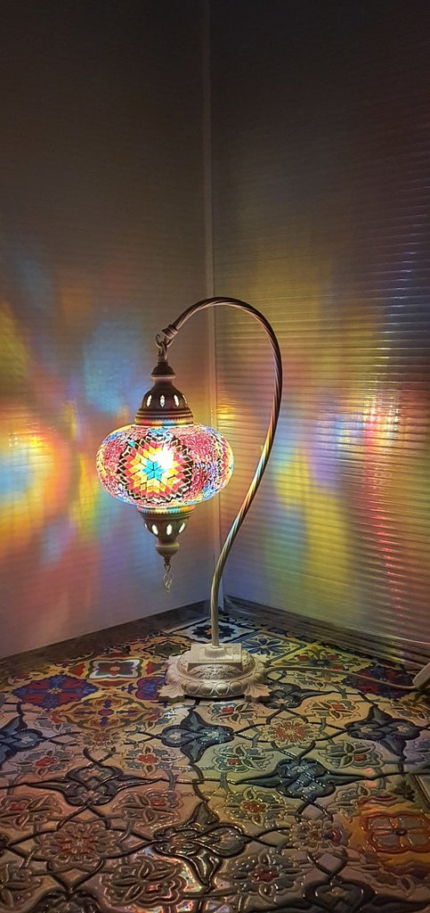 Mix Flower Pattern Turkish Tiffany Mosaic Swan Neck Table Lamp LED Light size 4 From £34.90 - Decoridea.co.uk