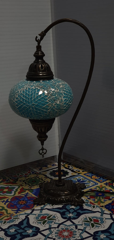 Turquoise Flower Pattern Turkish Tiffany Mosaic Swan Neck Table Lamp LED Light size 4 From £34.90 - Decoridea.co.uk