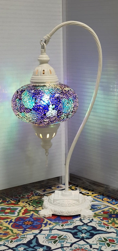 Blue Turkish Tiffany Mosaic Swan Neck Table Lamp LED Light size 4 From £34.90 - Decoridea.co.uk
