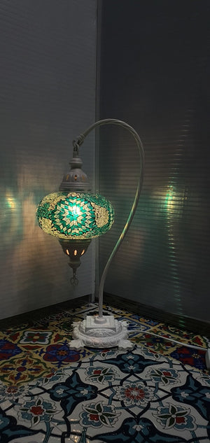 Green Flower Pattern Turkish Tiffany Mosaic Swan Neck Table Lamp LED Light size 4 From £34.90 - Decoridea.co.uk