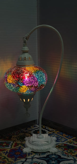 Mix Coloured Turkish Tiffany Mosaic Swan Neck Table Lamp LED Light size 4 From £34.90 - Decoridea.co.uk