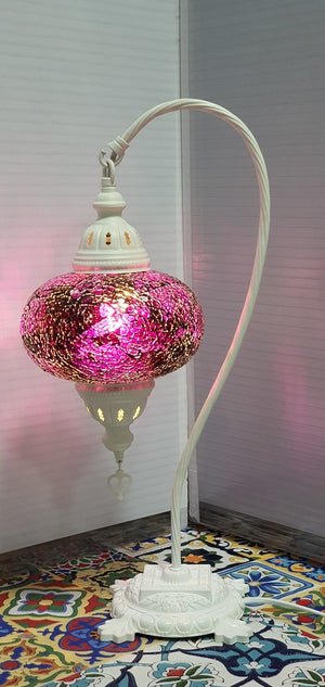 Purple Turkish Tiffany Mosaic Swan Neck Table Lamp LED Light size 4 From £34.90 - Decoridea.co.uk