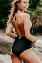 Mesh Panel Halter Neck One Piece Swimsuit