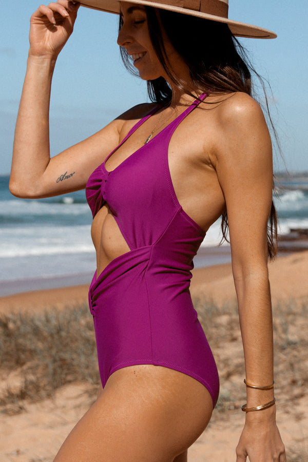 Solid Color Halter Neck Sexy One Piece Swimsuit