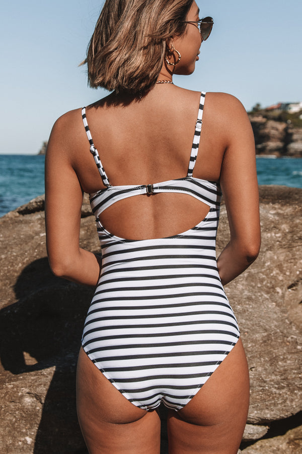 Stripe Print Criss Cross One Piece Swimwear