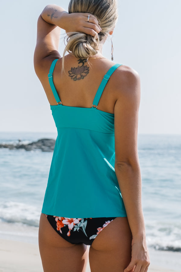 Floral Print Twist Front High Waisted Tankini Set
