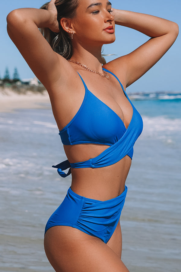 Solid Color Tie Back High Waist Bikini Set