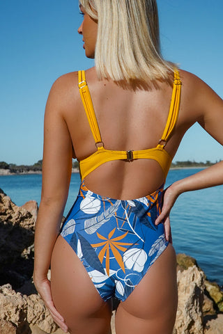 Backless Leaf Print One Piece Scalloped Swimsuits