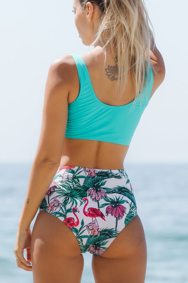 Flamingo Print Tie Front High Waisted Bikini Set