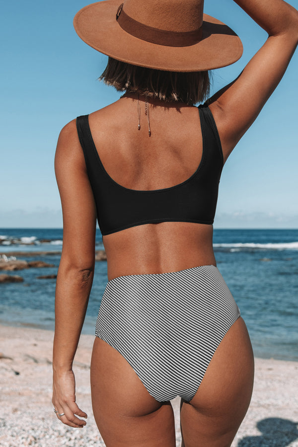 Twist Front Stripe Print High Waisted Bikini Set