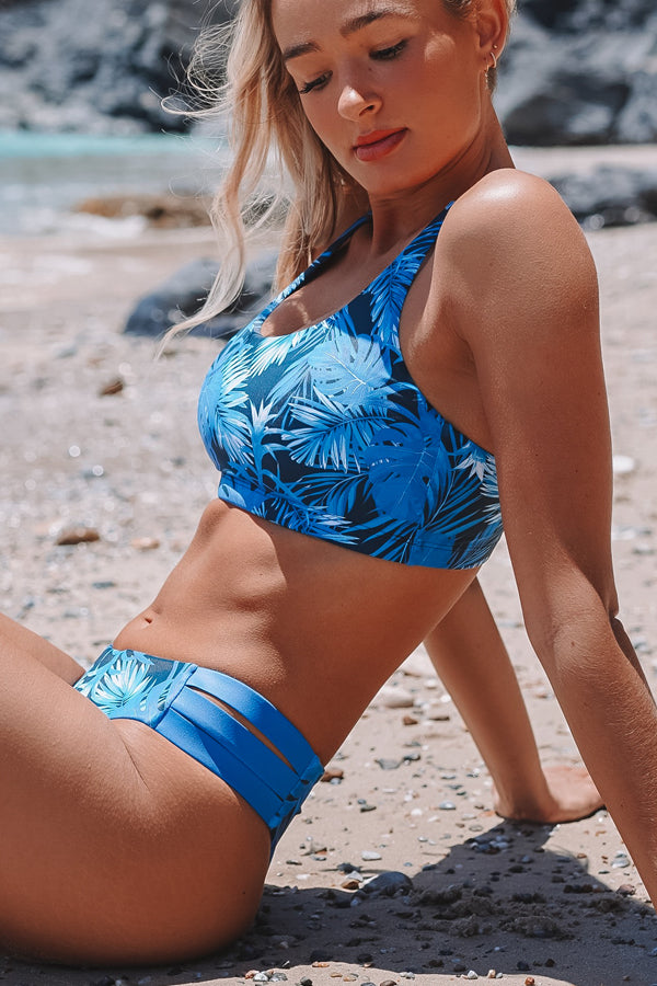 Leaf Print Back Cross Bikini Set
