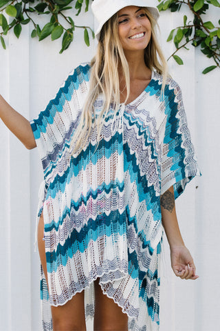 Stripe Print Side Slit Short Style Cover Up