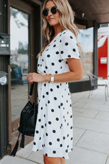 Cute Polka Dot Print V Neck Casual Dress