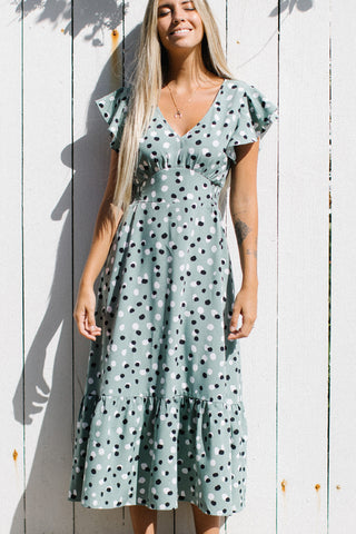 Ruffle Shoulder V Neck Polka Dot Print Maxi Dress