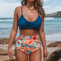Flower Print High Waist Tie Back Bikini Set