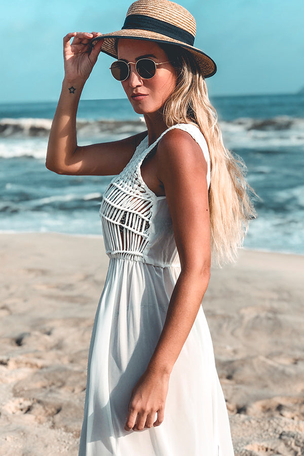 Solid White Tassel Long Style Cover Up
