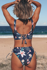 Floral Print Twist Front Lace Up Bikini Set