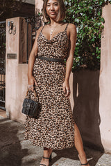Leopard Print Split Side Casual Dress(Without Belt)