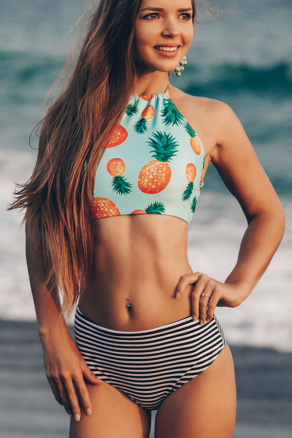 Cute Girl Pineapple & Stripe Print Bikini Set