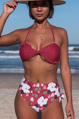 Twist Front Halter Tie Side Bikini Set