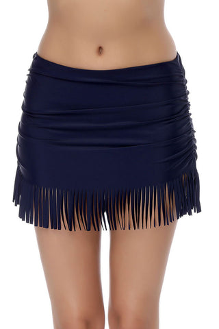 Tassel High Waisted Ruched Swim Skirt