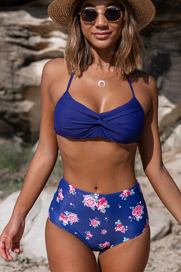 Halter Cross Front Flower Print Bikini Set