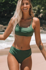 High Waist Army Green Bikini Set