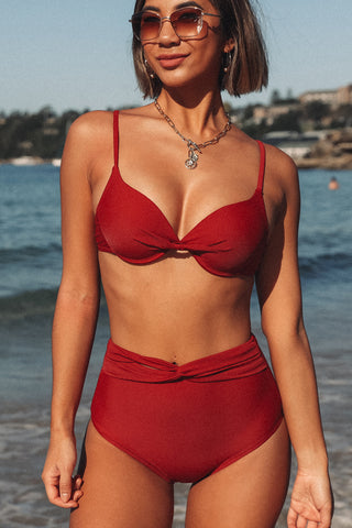 Twist Front Wine Red Bikini Set
