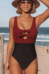 Double Tie Front Patchwork One Piece Swimwear
