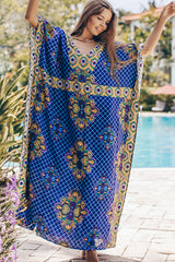 Printed V Neck Swimwear Cover Up