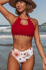Stringy Selvedge High Waist Flower Print Bikini Set