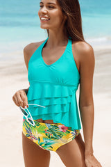 Cute Girl Layered Ruffle Hem Tankini Set