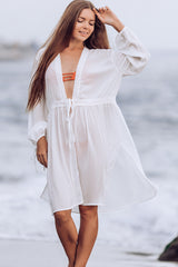 Drawstrint Waist Lantern Sleeve Swimsuit Cover Up