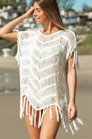 Tassel Design Knitting Beach Cover Up