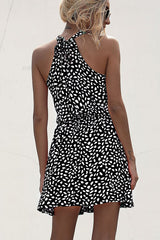 Halter Neck Polka Dot Print Casual Dress