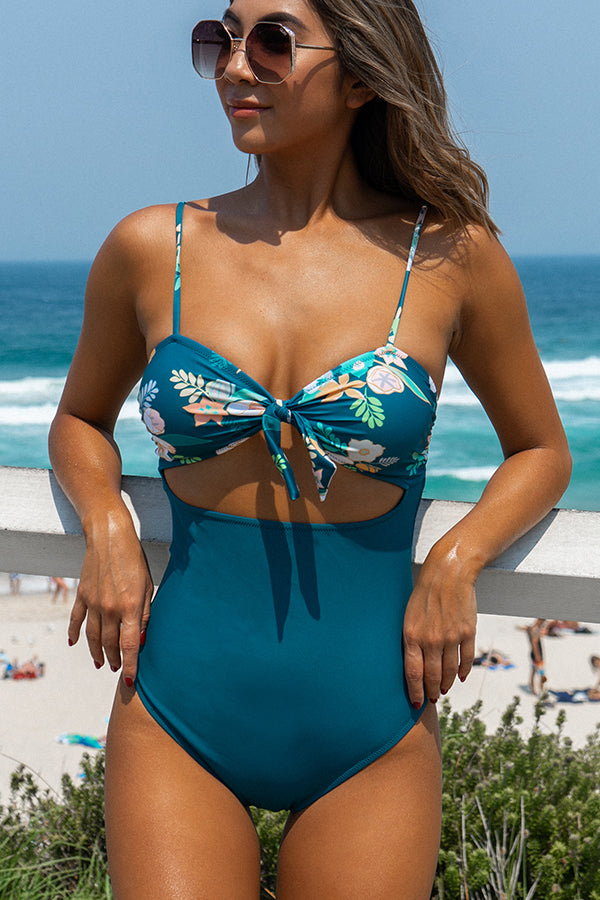 Flower Print Knot Front Sexy One Piece Swimwear