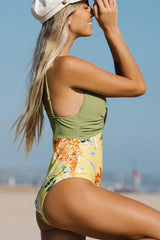 Criss Cross Flower Print One Piece Swimwear