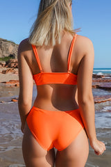 Orange Girl Tie Front High Waisted Bikini Set