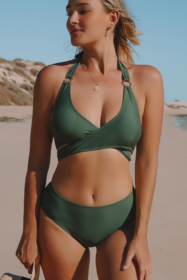 Cross Criss Front Army Green Bikini Set