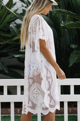 Lace Desing V Neck Swimwear Cover Up